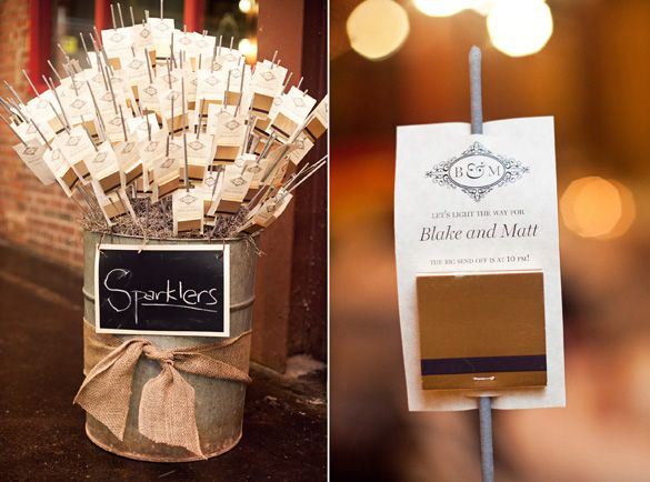 wedding sparklers - this can be setting on a table when they come in with their name and table number.  Also can be used as favors for the sparkler send off at 11 pm!!