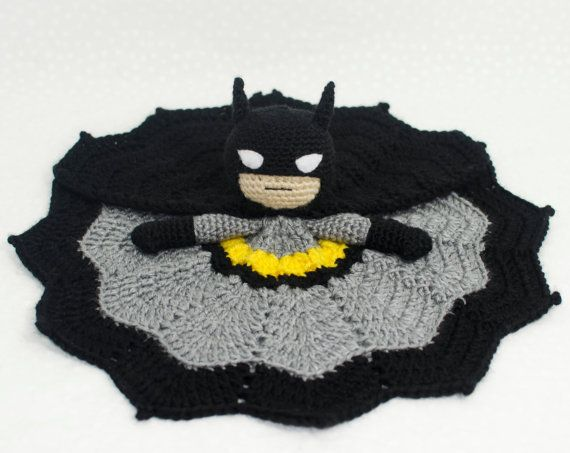 **THIS IS A PDF DIGITAL DOWNLOAD** Not a finished crochet item.  Crochet Batman inspired lovey blanket. The perfect cuddle companion for all crime fighting babies and Batman fans alike! Blanket measures approx 16 when completely spread out. Materials Needed: ~about 350 Yards of worsted yarn, in black, grey, yellow, & skin tone. ~crochet hook I (5.5mm) ~crochet hook G (4.0mm) ~tapestry needle ~white felt ~white embroidery thread ~stitch marker (optional) ~fiberfill  Gauge is not important ...