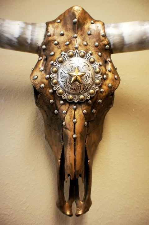 Decorated longhorn skull Gold and silver Texas by WesTiqueDesigns