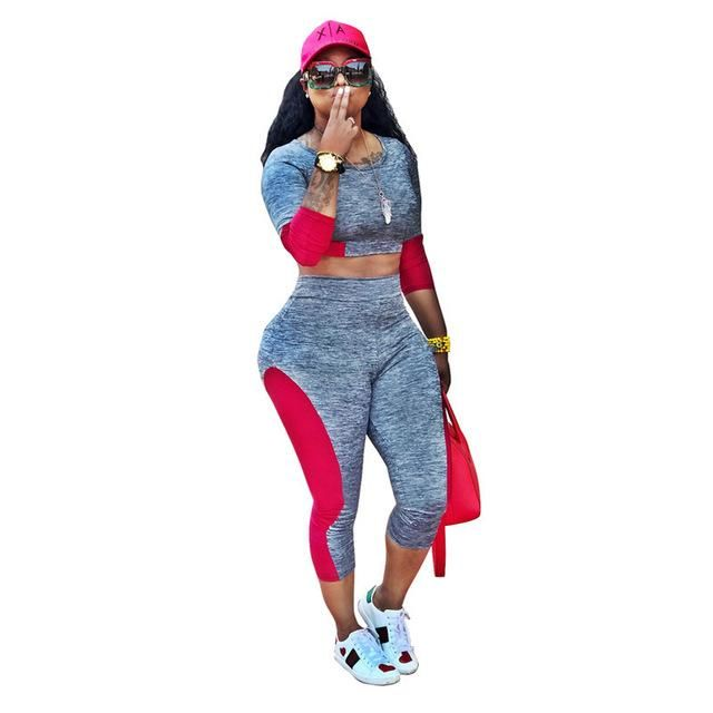 Overalls Autumn o-neck tshirt +pant Summer tracksuit fashion sexy women's set two pieces Jumpsuit suits casual outfits TS852 XL 2