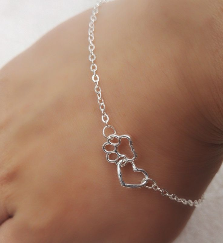 1pcs dropshippin Sweet silver Plated Lovely HEARTand paw Bracelet Love heart friendship Mother and Child Anniversary bracelet