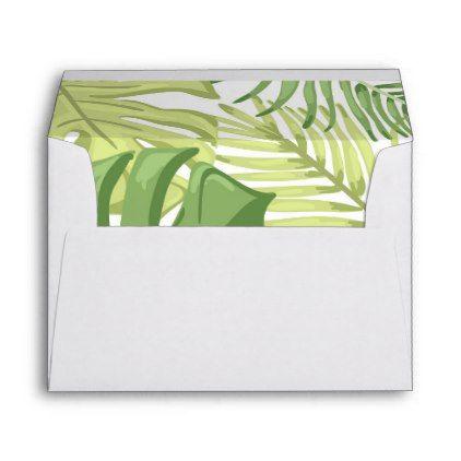 #Tropical Envelope Hawaii Palm leaves Tropical - #Wedding #Printed & #Mailing #Envelopes #weddinginvitations #wedding #invitations #party #card #cards #invitation