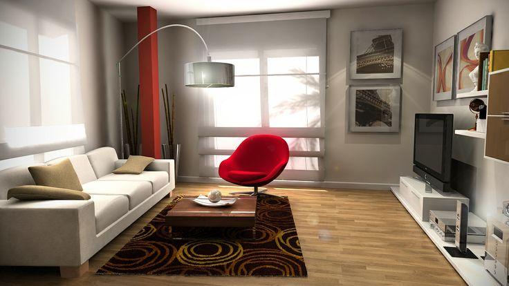 Salon, estilo Contemporaneo color Rojo, Marron, Marron, Blanco,