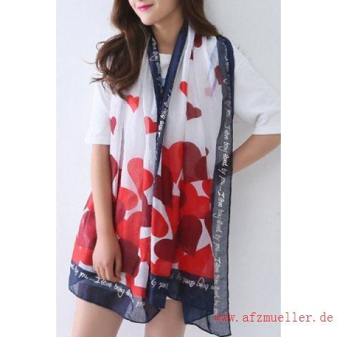 Rabatt schicke rote Herzen und handgeschriebene Briefe Muster Voile-Schal für Frauen 5QRsjjB