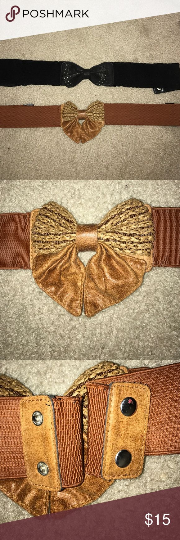 Black and Tan belts Selling together. Black bow belt with sequins on bow and tan belt with crotchet bow. Both have 2 snaps and are in excellent condition. Charlotte Russe Other