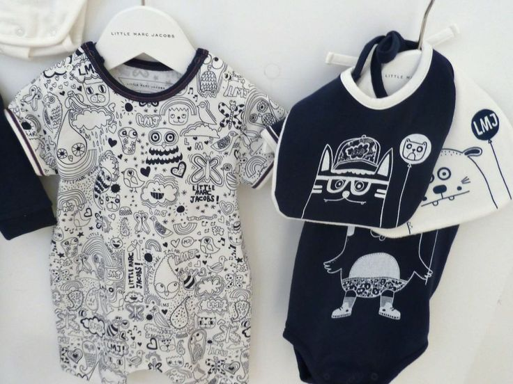 Really strong fun graphic prints at Little Marc Jacobs for summer 2013 baby all in ones and bibs