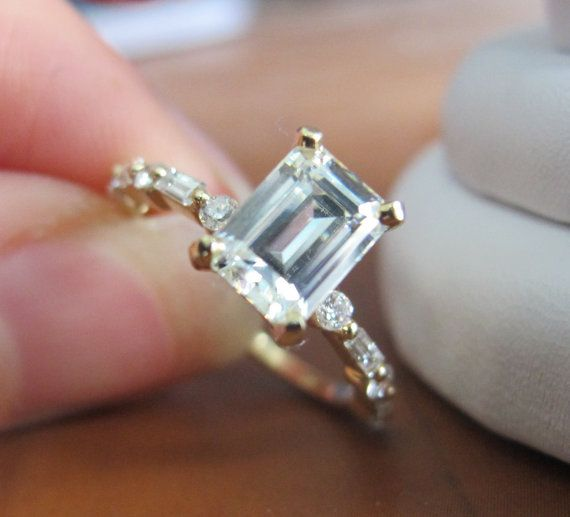 Emerald Cut Moissanite and Diamond Engagement Ring by MRoseDesign