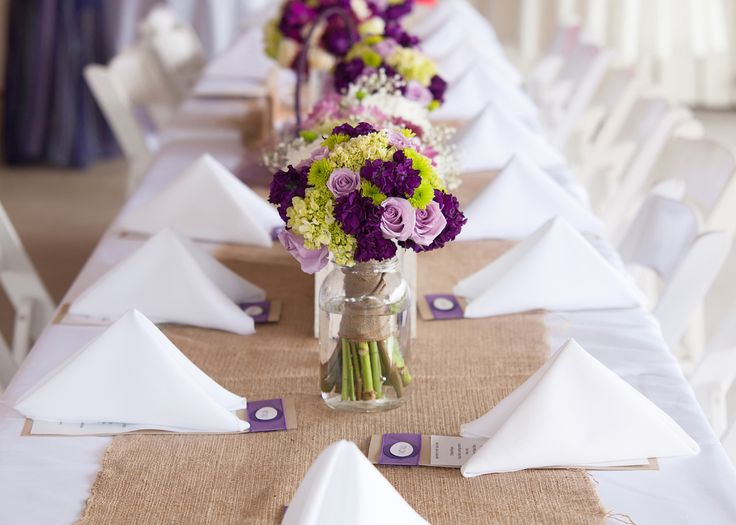Burlap And Purple Table Decor