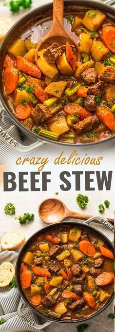 This recipe for Homemade Classic Beef Stew makes the perfect comforting dish on a cold day. Best of all, it's easy to customize and the active cooking time is only 20 minutes on HIGH PRESSURE for the most delicious and tender meat with carrots, potatoes, sweet potatoes and celery. Super comforting for a cozy Sunday and full of amazing flavors that the entire family will love! #beefstew #homemade #comfortfood #stew #winter #fall #cozy