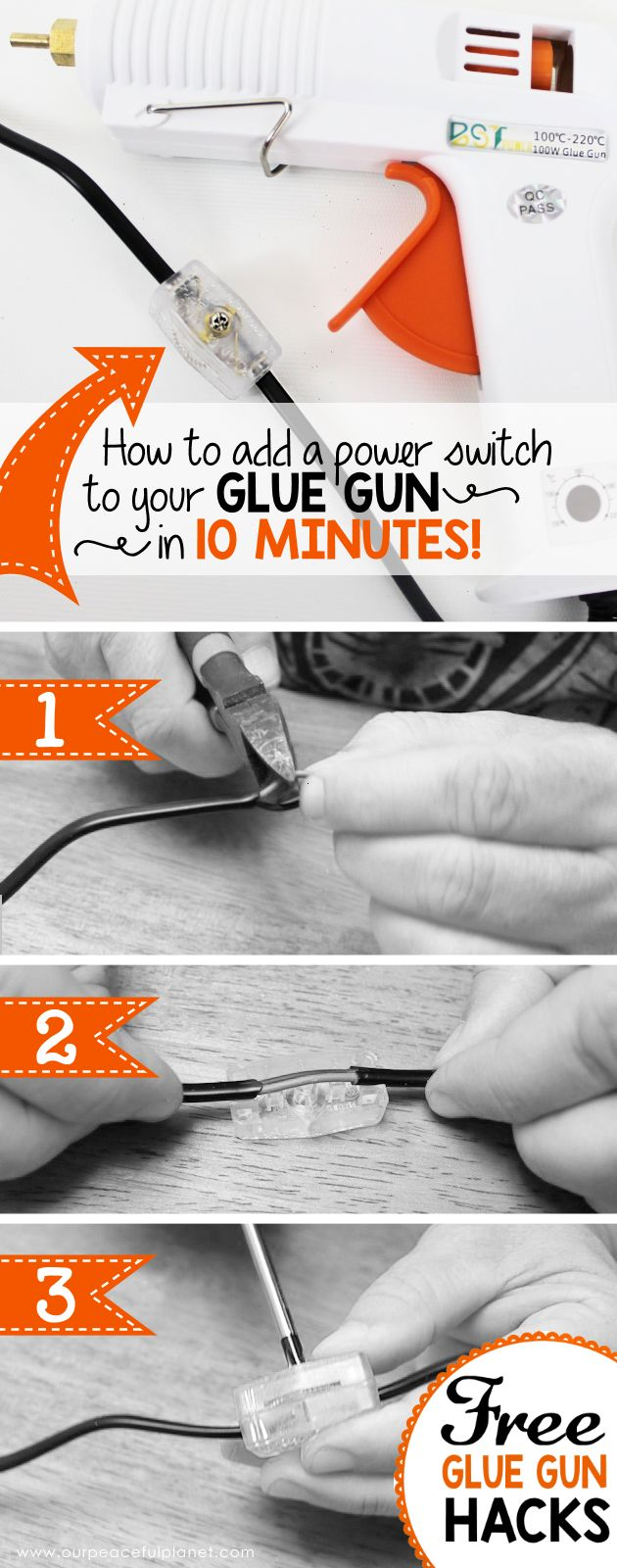 It's really hard to find a glue gun with an on off switch. But its easy to install a $2 switch to the cord in 10 minutes allowing you to keep it plugged in!
