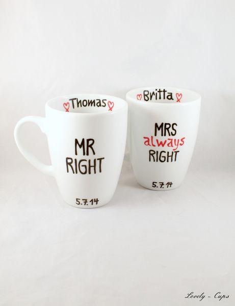 personalisiertes Hochzeitsgeschenk mit Wunschnamen von Lovely-Cups   auf DaWanda.com