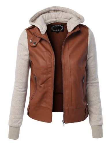 BESTSELLER! LE3NO Women's Zip Up Faux Leather Mot... $21.69