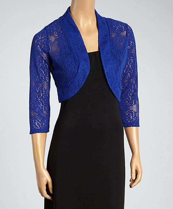 Look at this Nina Leonard Royal Blue Crochet Shrug on #zulily today!