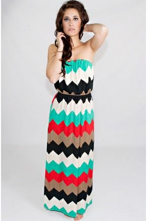 Reach The Peaks Chevron Maxi Dress. I can never wear any of these cause I cant find any that fit...Always too long :(