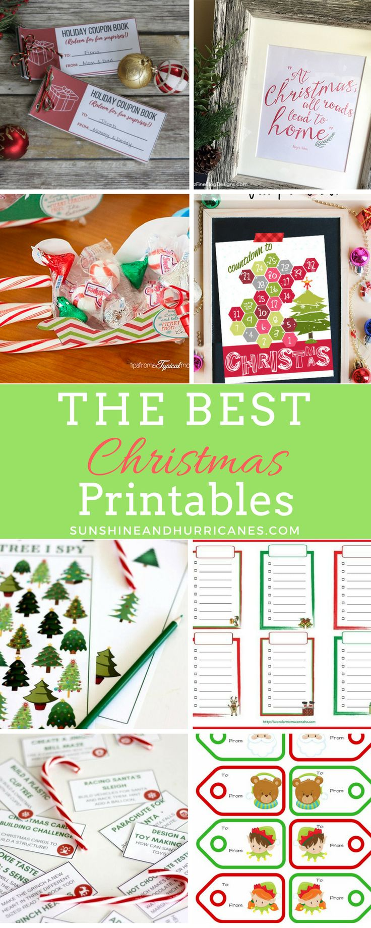 Christmas Printables of all kind are a perfect for adding festive holiday decor to your home, personalizing Christmas gift giving or finding fun holiday activities for the kiddos. via @sunandhurricane