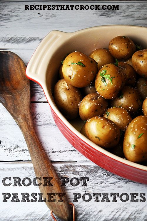Crock Pot Parsley Potatoes- Incredible side dish crockpot recipe that you will not believe how easy it is!