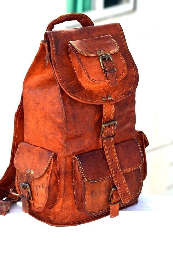 New Large Genuine Leather Back Pack Rucksack Travel Bag For Men/'s and Women/'s