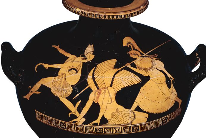 The hero Perseus killed Medusa. This picture on a vase shows Perseus carrying the monster's head in a bag.