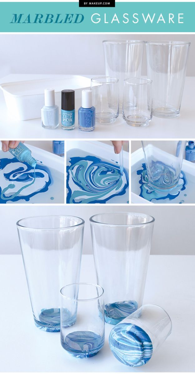 DIY Nail Polish Crafts - Marbled Glassware - Easy and Cheap Craft Ideas for Girls, Teens, Tweens and Adults | Fun and Cool DIY Projects You Can Make With Fingernail Polish - Do It Yourself Wire Flowers, Glue Gun Craft Projects and Jewelry Made From nailpolish - Water Marble Tutorials and How To With Step by Step Instructions http://diyjoy.com/nail-polish-crafts