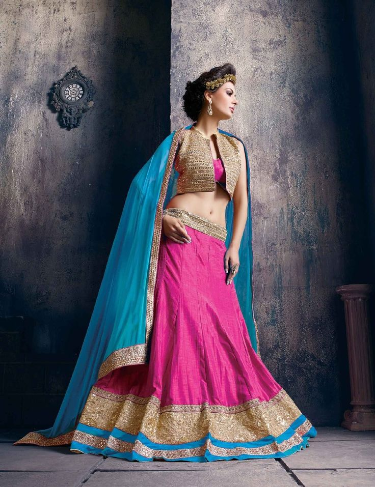 pink and sky blue attractive lehenga choli wedding design