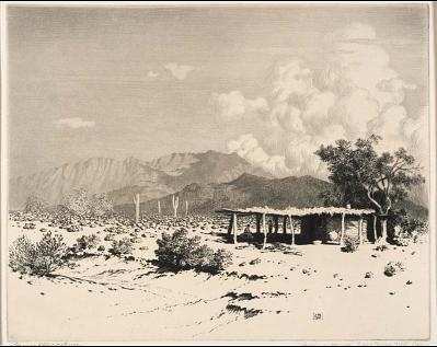 'Indian Homes, Salt River Mountains, Arizona', by George Elbert Burr. 1859-1939 Drypoint