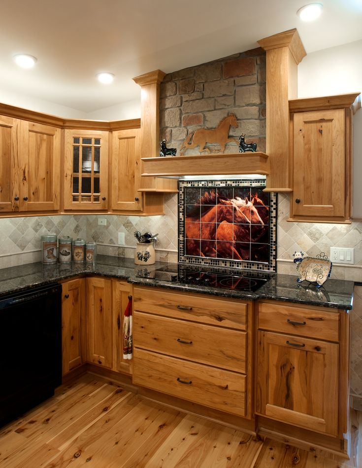 Western cowboy ceramic tile mural backsplash 24 quot x 18 for Western kitchen ideas