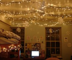 i have a ton of string icicle lights that we can string like this in our bedroom