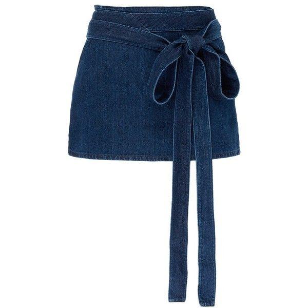 JW Anderson 'Lea' sash tie mini denim skirt ($630) ❤ liked on Polyvore featuring skirts, mini skirts, bottoms, blue, short wrap skirt, wrap mini skirt, blue skirts, denim miniskirts and short mini skirts