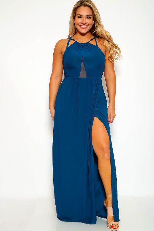5f1d9d236a4 Sexy Teal Strappy Sleeveless Plus Size Maxi Dress in 2019 | My ...