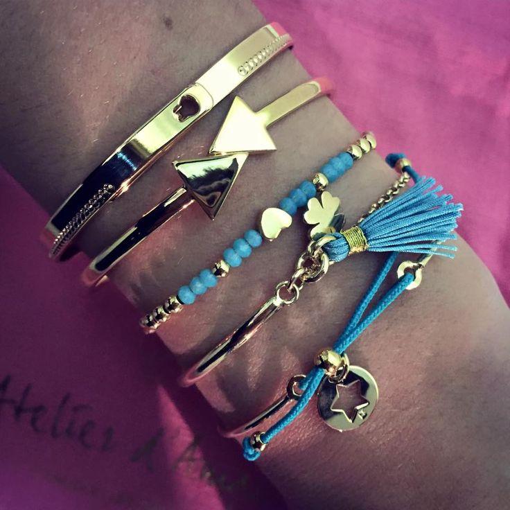 Composition de bracelet plaqué or - L'Atelier d'Amaya #jewels #bijoux #or #turquoise #Bordeaux #Toulouse #Lyon #Aix