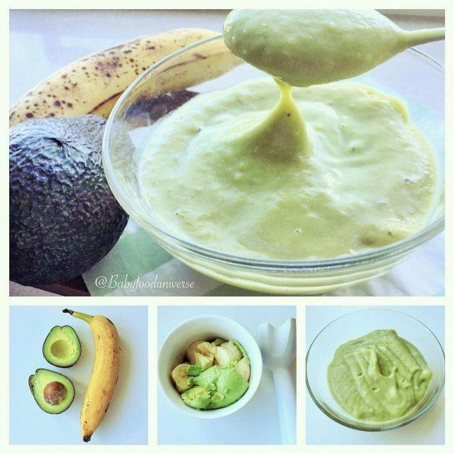 No cook recipe - Avocado and banana baby puree , great as first food