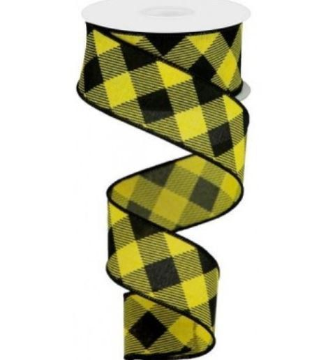 10 Yards Diagonal Stripe//Check Wired Edge Ribbon Golden Yellow, 2.5 Inches