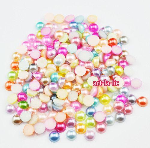 100pcs 4mm Mix Colors Pearl Flat Back DIY Deco Case iPhone Phone Scrapbook | eBay