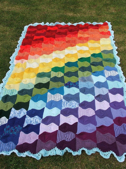 Knitting Pattern Rainbow Blanket : rainbow blanket Knitted & Crochet Blankets Pinterest ...