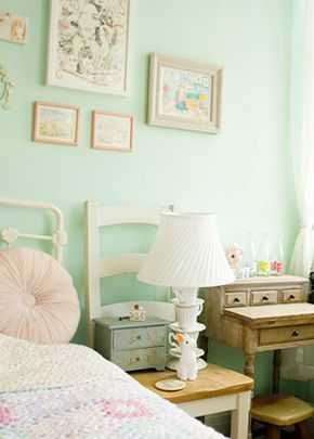 This pastel bedroom color scheme combines beautiful accents of mint green, blush pink, and clean white, along with vintage decor, for a feminine space your little girl is sure to love. Update your room with BEHR paint to make this inspiration come to life in your own home!
