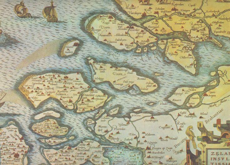 Zelandicarum Insularum. Uitsnede, uitgave ca. 1545. Vervaardigd door: Jacob van Deventer. Heruitgegeven door de Zeeuwse Boekhandel. Korte Sint Janstraat 17, Zierikzee.