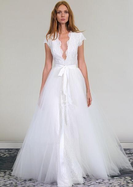 Unique White Short Sleeve Backless Tulle Floor Length A Line Detachable Skirt Removable Lace Wedding Dresses Bridal