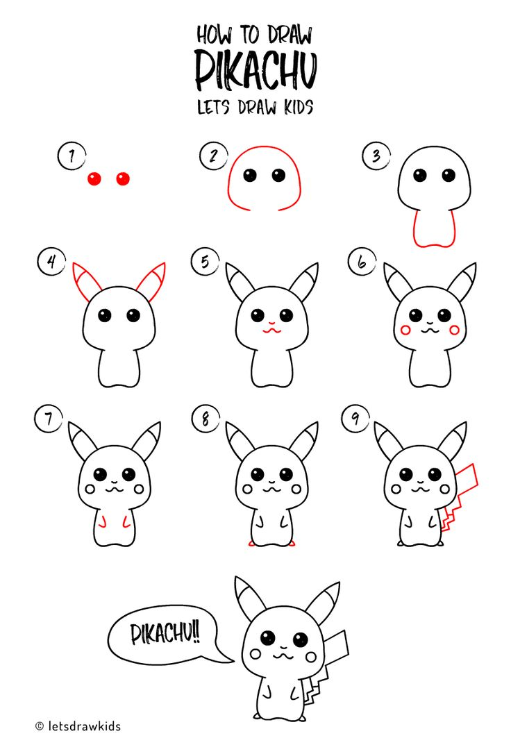 How to draw Pikachu. Easy drawing, step by step, perfect ...