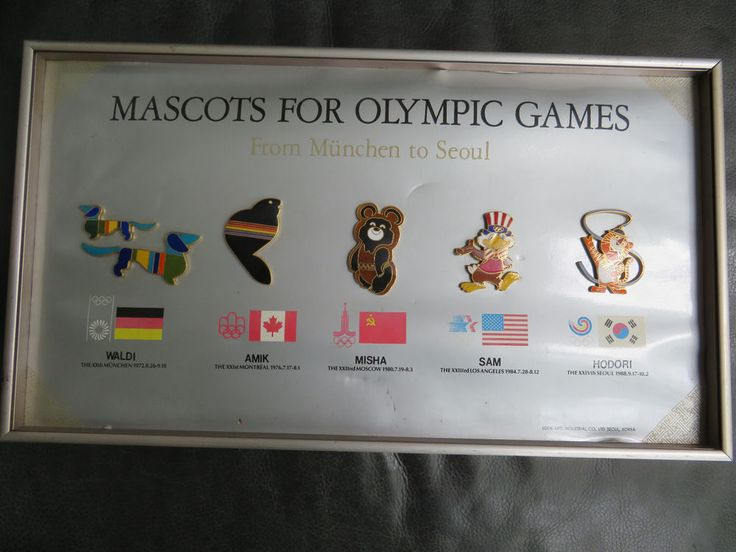 6 large framed olympic mascots 1972, 1976, 1980, 1984 and 1988  | eBay