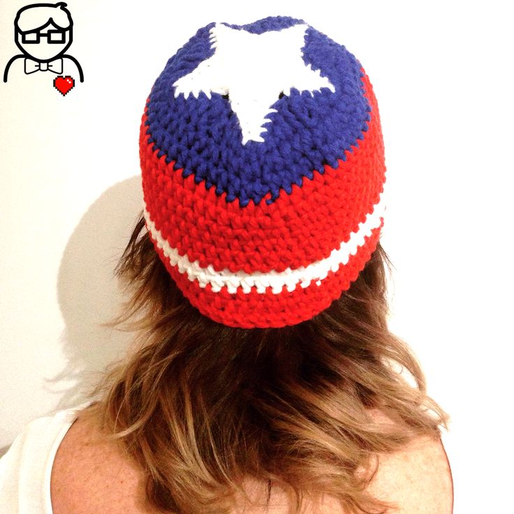 Captain America-inspired || Beanie hat with star || One size fits most teens & adults || Handmade crochet || GEEK (AU$40 + postage)
