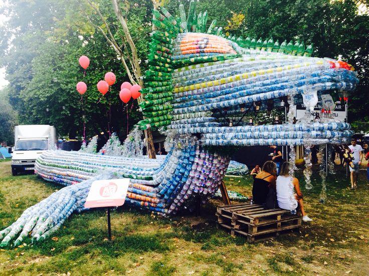 Art at #sziget2015: dragon built from plastic bottles.