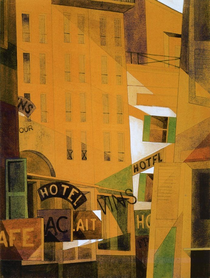 Charles Demuth (American 1883–1935) [Precisionism] Hotel, (1921).