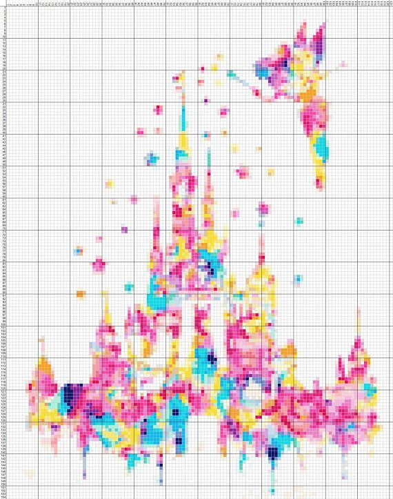 Buy 2 Get 1 Free Tinkerbell Castle Watercolor 454 Cross Stitch