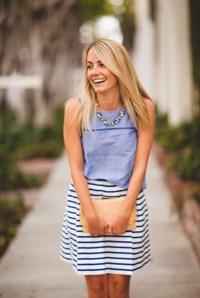 Nautical stripe skirt.