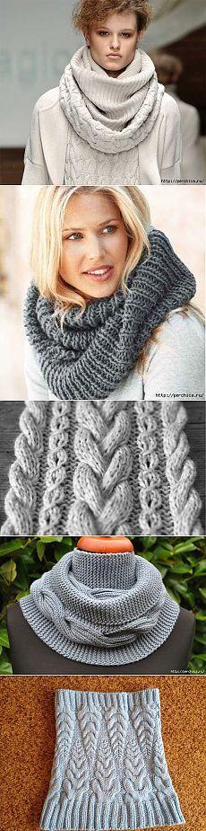 Как связать шарф снуд спицами + подборка узоров для их вязания