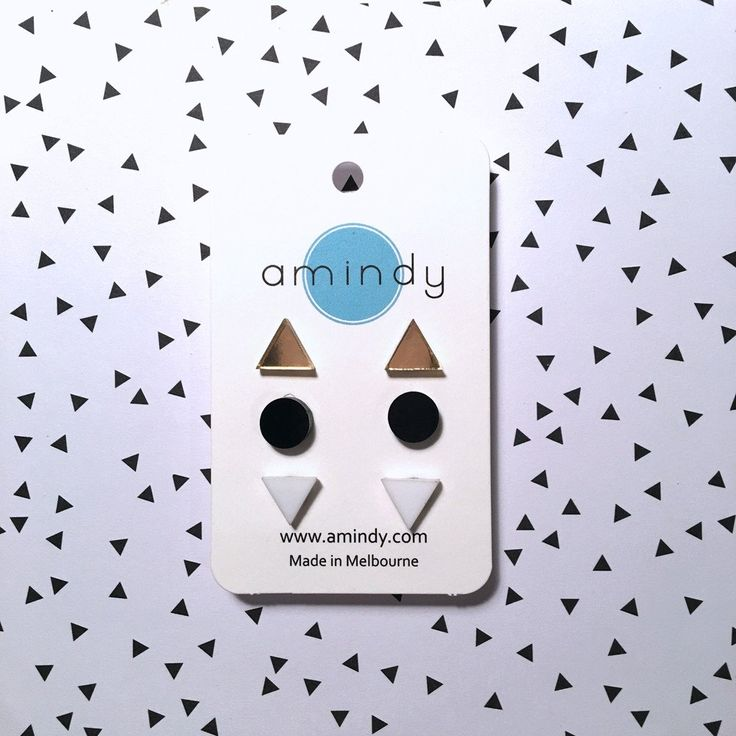 Amindy - GEO - Earring studs triple pack - black, white, gold mirror - $35 - Shop online at www.amindy.com.au