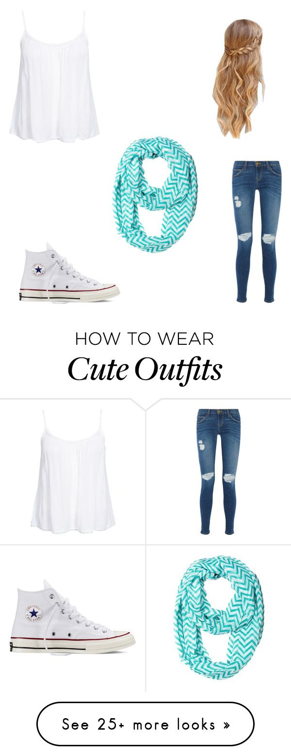 """""""A cute outfit"""" by ashley-gutierrez-i on Polyvore featuring Current/Elliott, Converse and New Look"""
