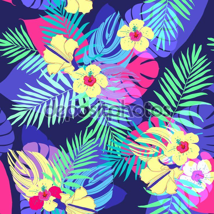 Экзотические тропические цветы и листья - Векторная картинка: 68470213
