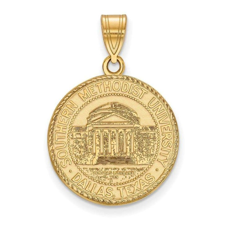 Sterling Silver w/GP LogoArt Southern Methodist University Large Crest