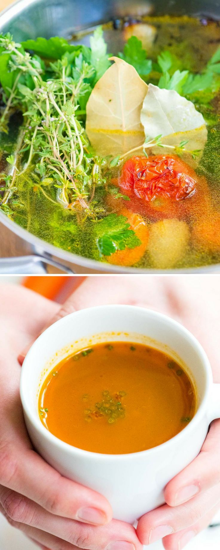 This homemade vegetable broth is hearty enough to enjoy alone as soup and works perfectly as a replacement to boxed stock in your favorite recipes. You will never want to buy the boxed broth again.